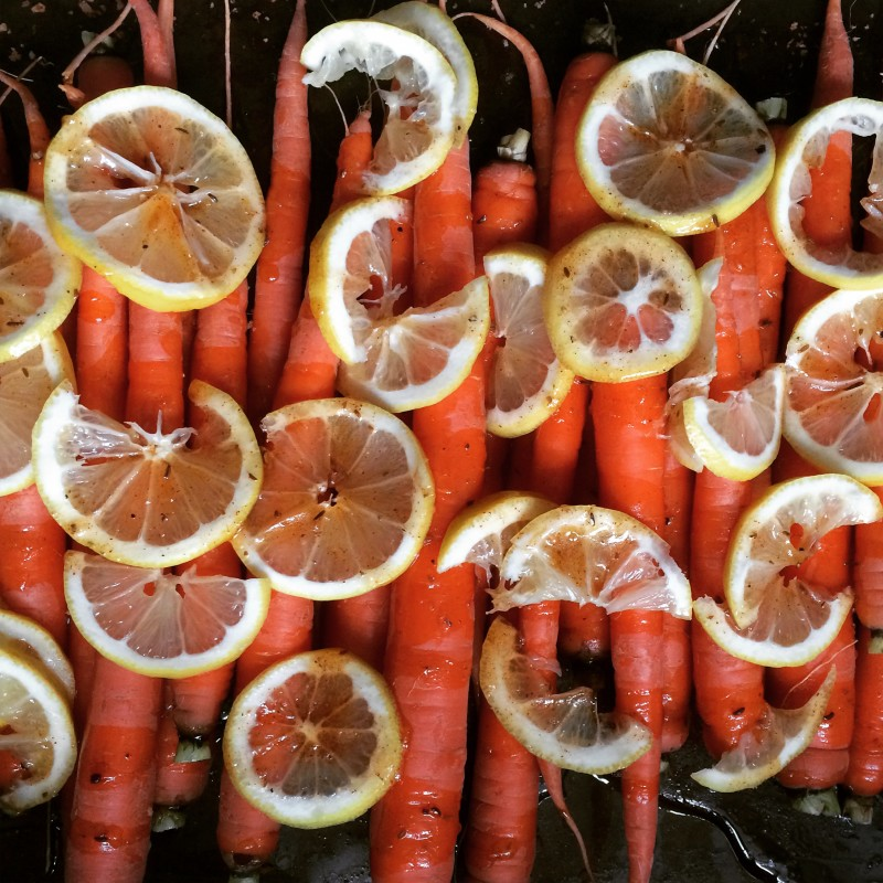 Just one of the many delicious eats, Maple and Harissa Glazed Carrots with Roasted Lemons