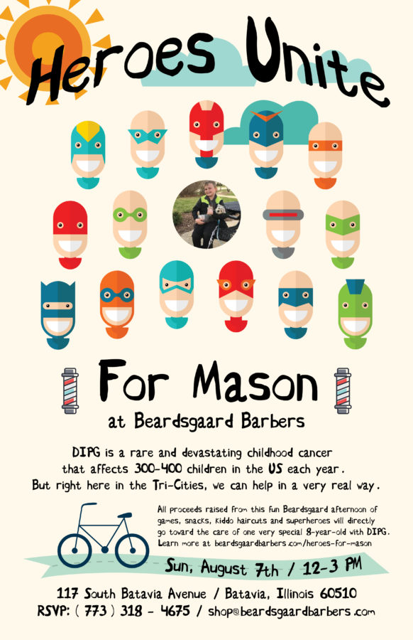 Heroes Unite for Mason Event Poster Beardsgaard Barbers