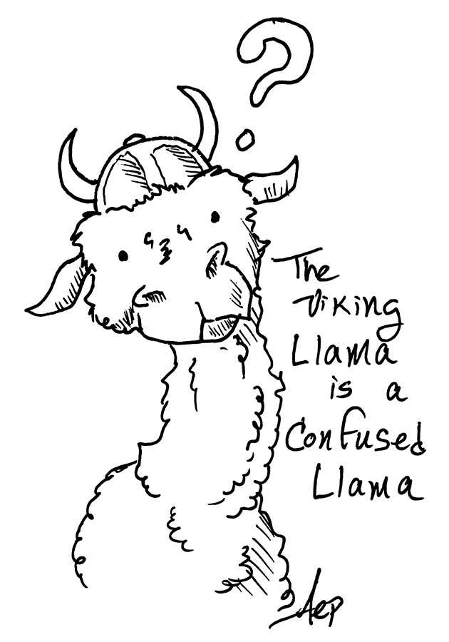 Eagle Drawrings-Confused Viking Llama