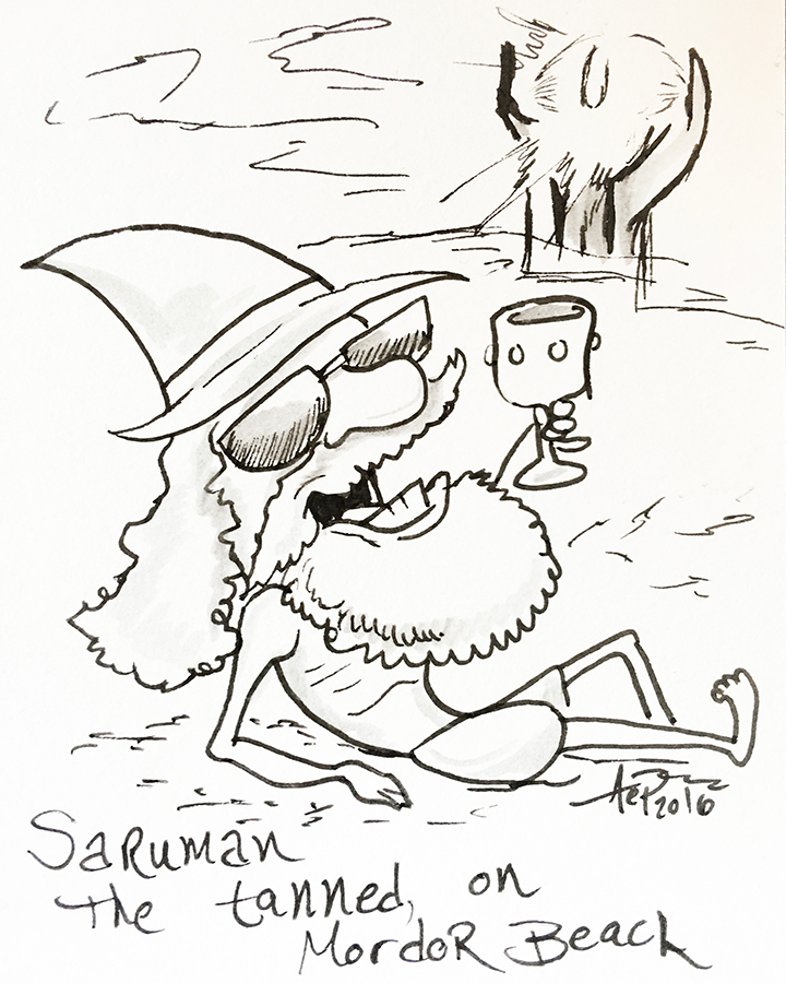 Eagle Drawrings-Saurumon the Tanned on Mordor Beach