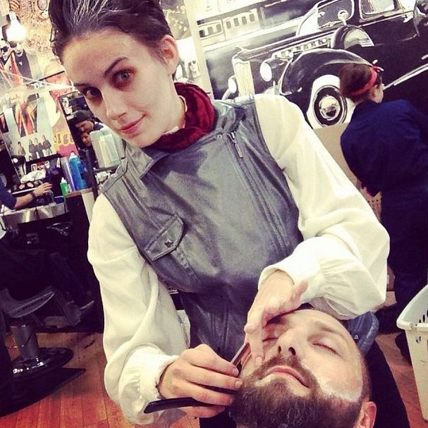 Natalie as Sweeney Todd Shaving Rich
